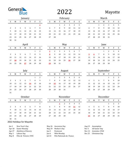 Mayotte Holidays Calendar for 2022