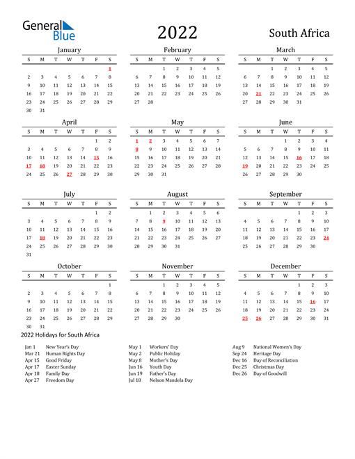 South Africa Holidays Calendar for 2022