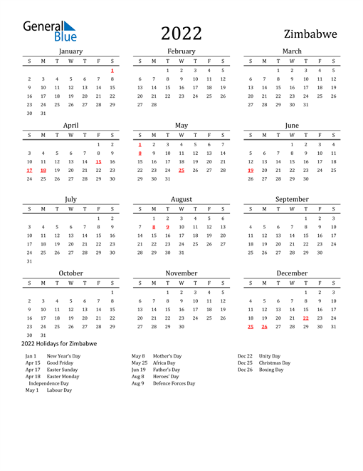 2022 Calendar - Zimbabwe with Holidays