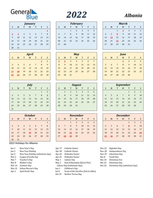 Albania Calendar 2022