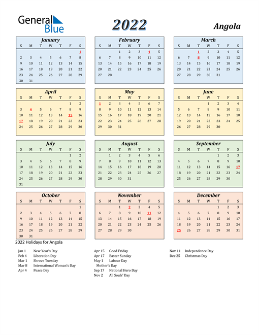 Angola Calendar 2022