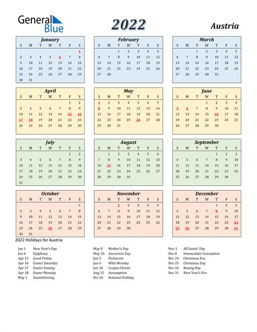 Austria Calendar 2022