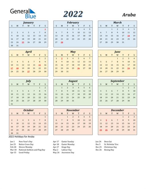 Aruba Calendar 2022