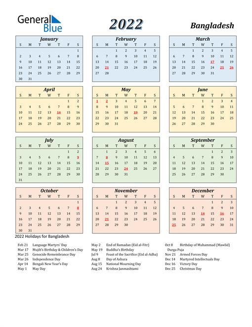 Bangladesh Calendar 2022