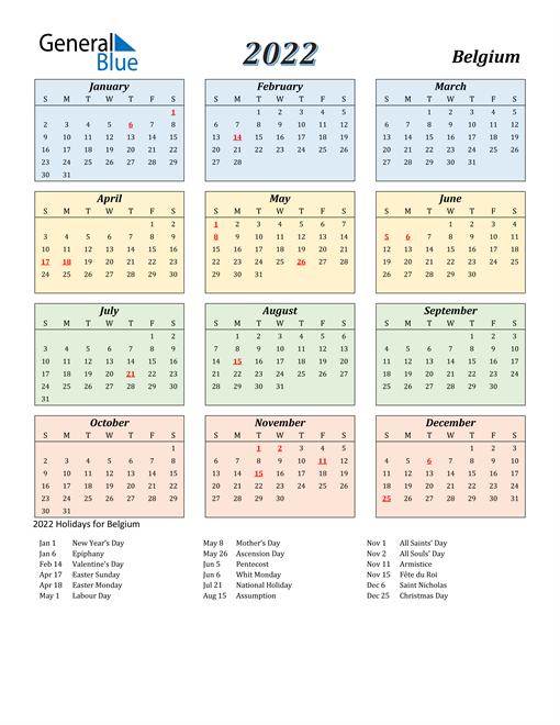 Belgium Calendar 2022