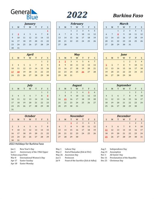 Burkina Faso Calendar 2022