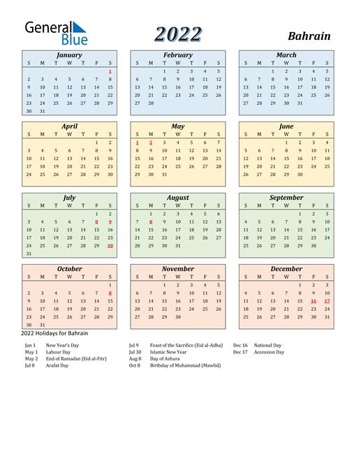 Bahrain Calendar 2022