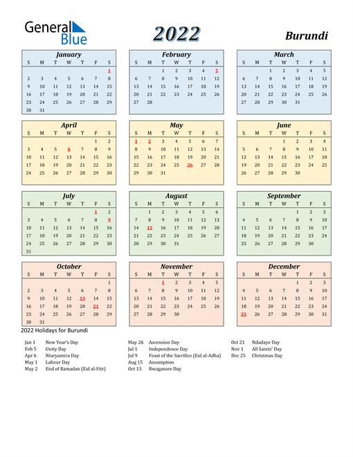 Burundi Calendar 2022