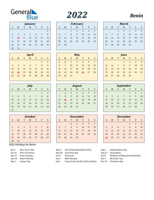 Benin Calendar 2022