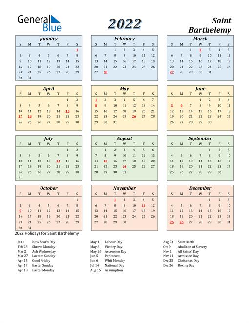 Saint Barthelemy Calendar 2022