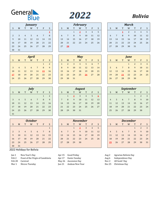 Bolivia Calendar 2022