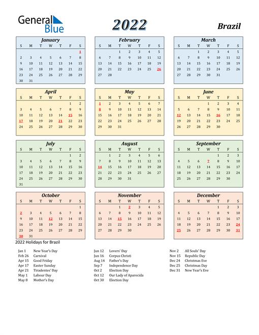 Brazil Calendar 2022