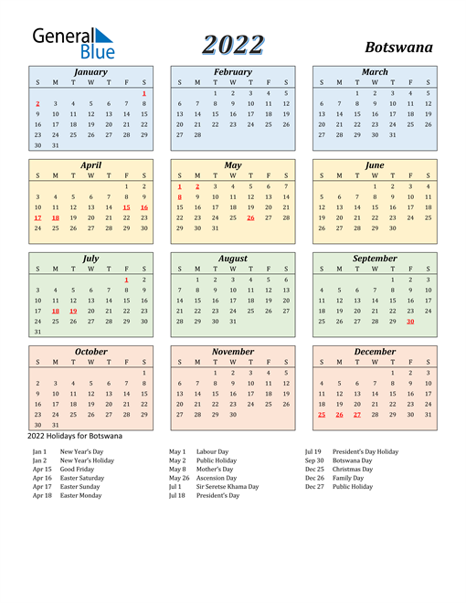 Botswana Calendar 2022