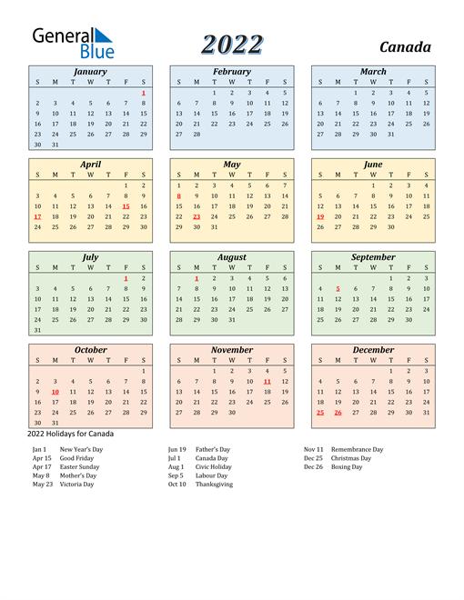 Canada Calendar 2022