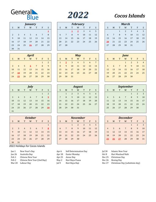 Cocos Islands Calendar 2022