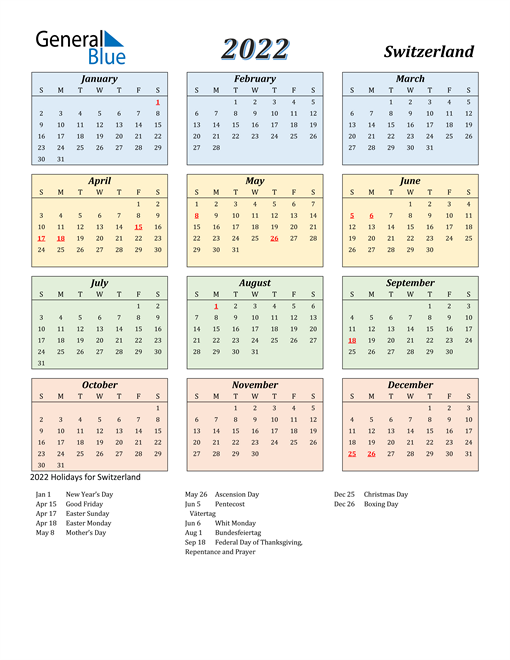 Switzerland Calendar 2022