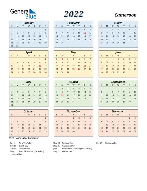 Cameroon Calendar 2022