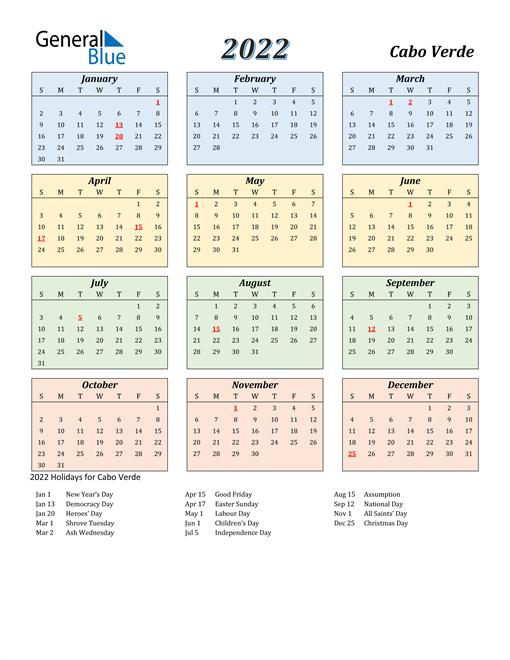 2022 Calendar - Cabo Verde with Holidays