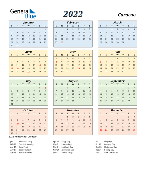 Image of Curacao 2022 Calendar with Color with Holidays