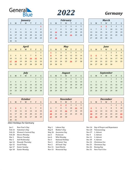 Germany Calendar 2022