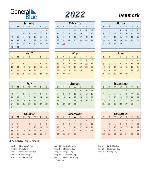 Denmark Calendar 2022