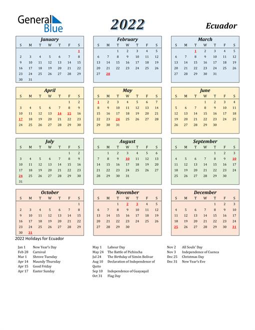 Ecuador Calendar 2022