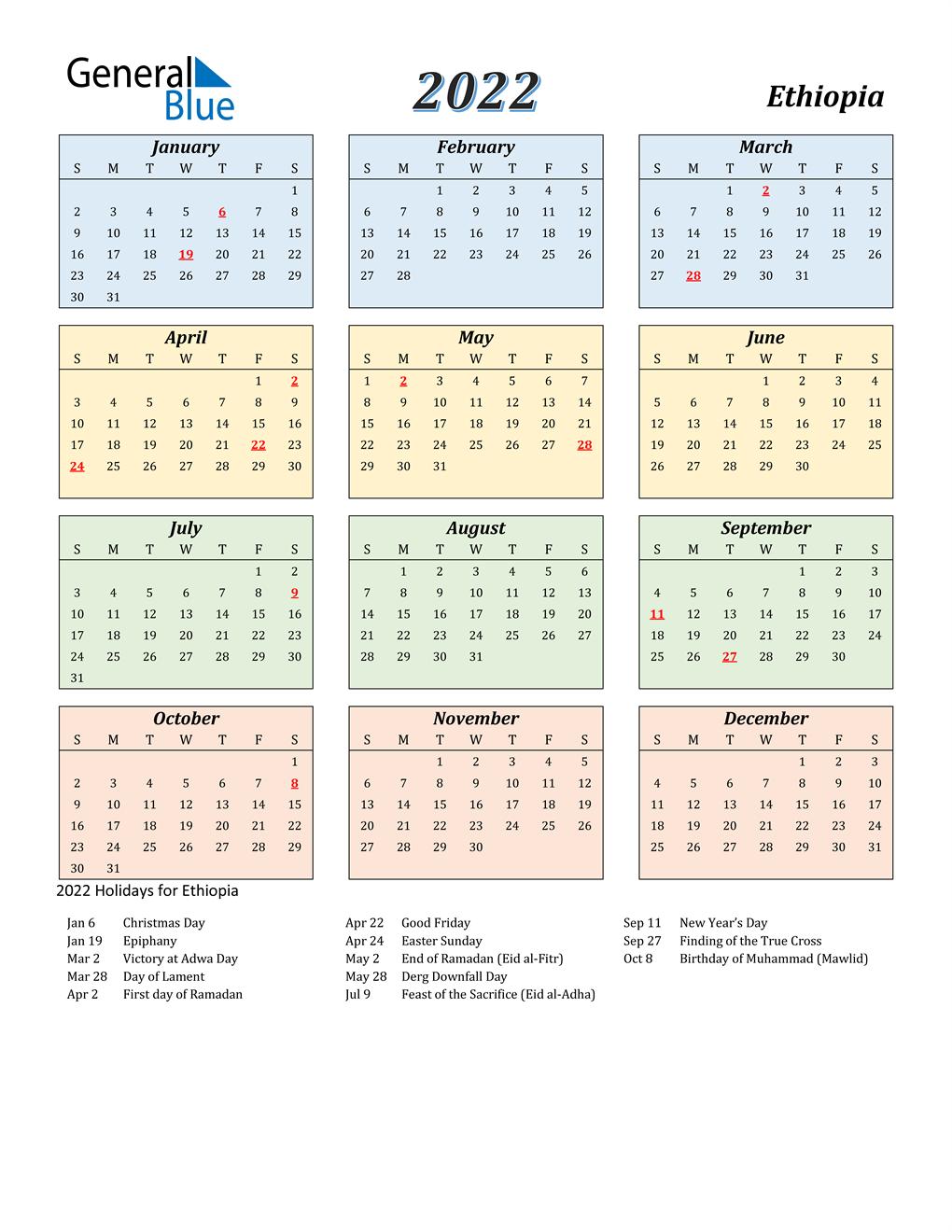 Ethiopian Fasting Calendar 2022.2022 Ethiopia Calendar With Holidays