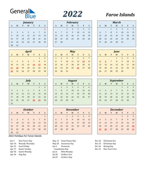 Faroe Islands Calendar 2022
