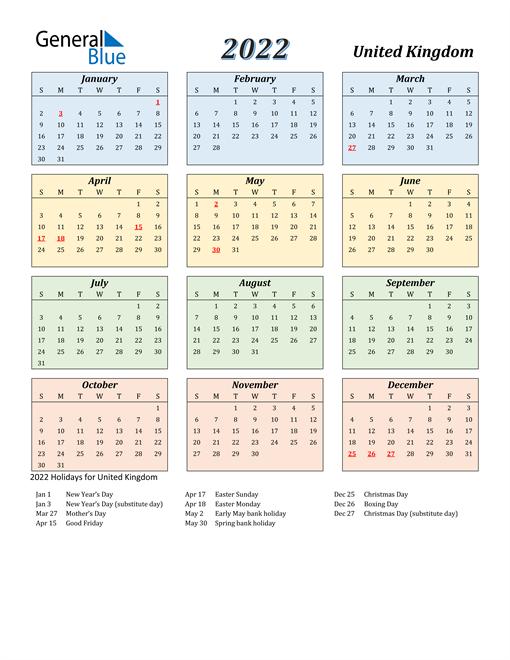 United Kingdom Calendar 2022