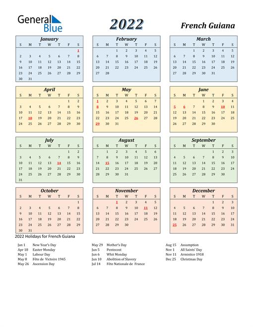 French Guiana Calendar 2022