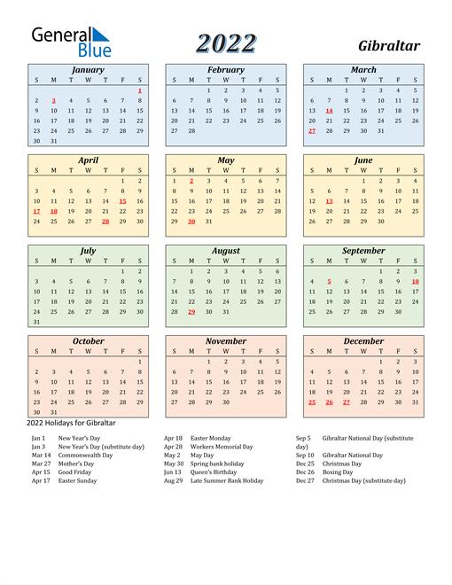 Gibraltar Calendar 2022