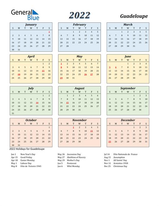 Guadeloupe Calendar 2022