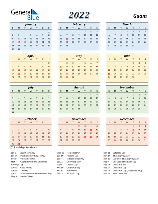 Guam Calendar 2022