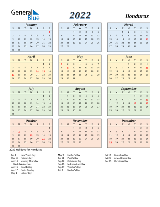 Image of Honduras 2022 Calendar with Color with Holidays