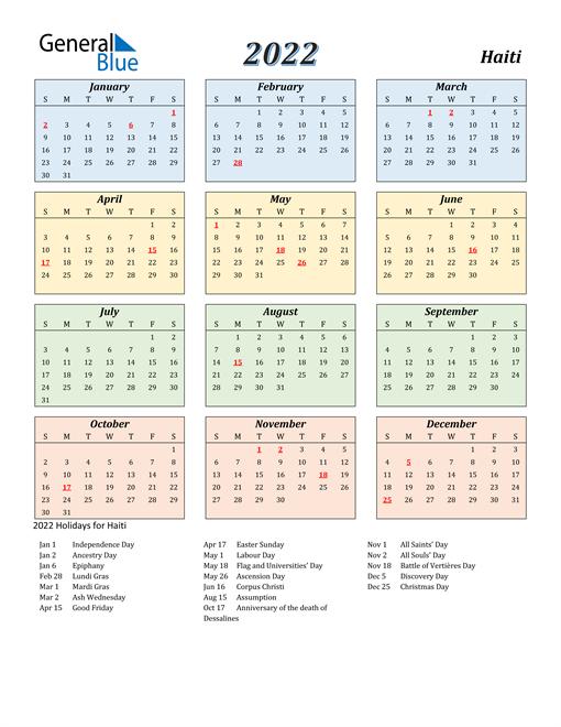 Haiti Calendar 2022