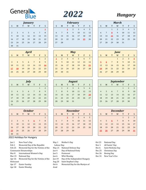 Hungary Calendar 2022