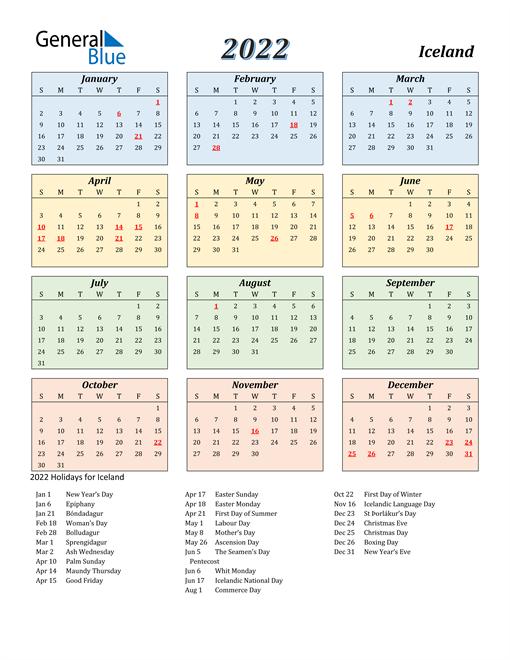 Iceland Calendar 2022