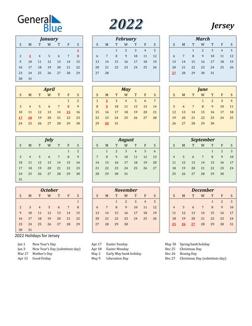 Jersey Calendar 2022