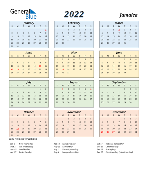 Image of Jamaica 2022 Calendar with Color with Holidays