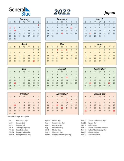 Japan Calendar 2022