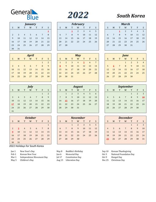 South Korea Calendar 2022
