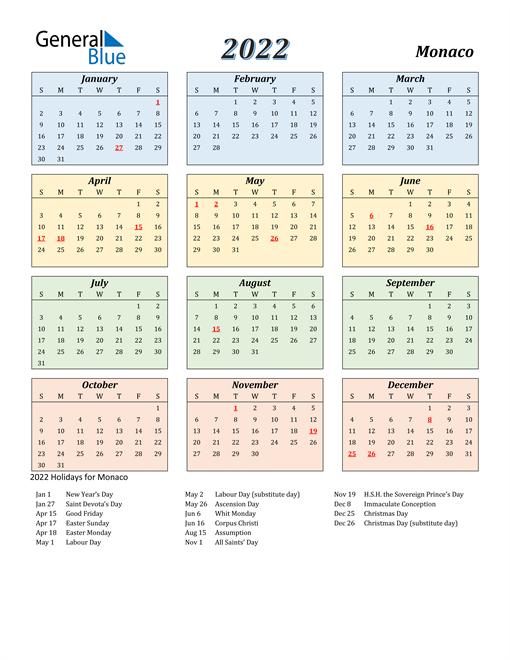 Monaco Calendar 2022