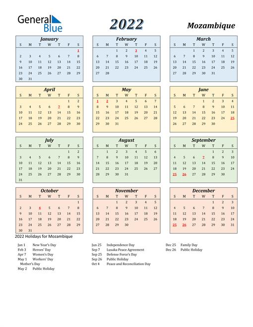 Mozambique Calendar 2022