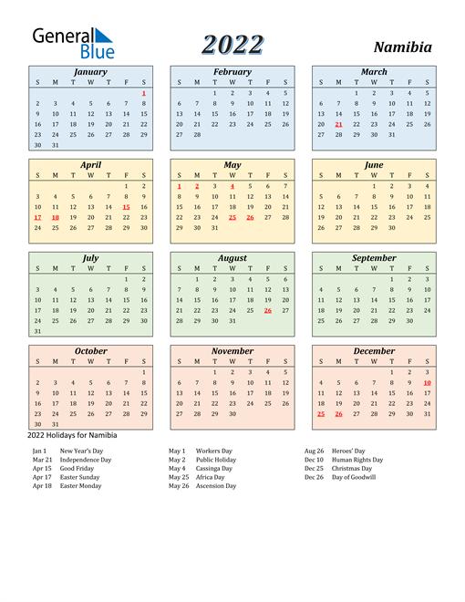 Namibia Calendar 2022