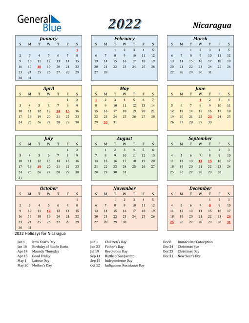 Nicaragua Calendar 2022