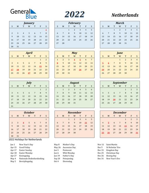 Netherlands Calendar 2022