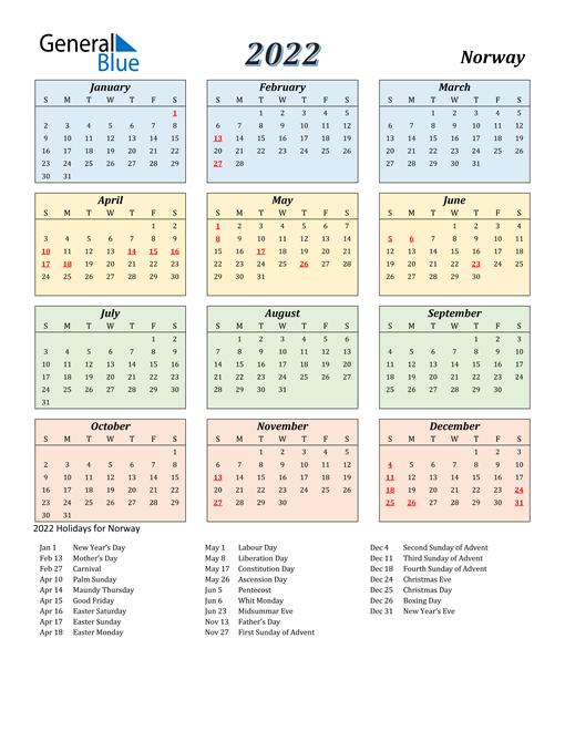 Norway Calendar 2022
