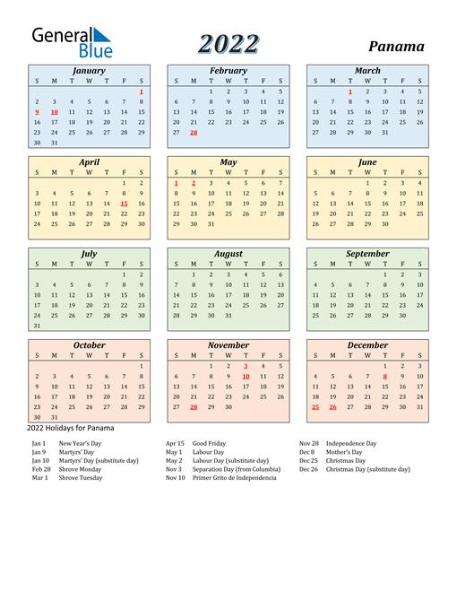 Panama Calendar 2022