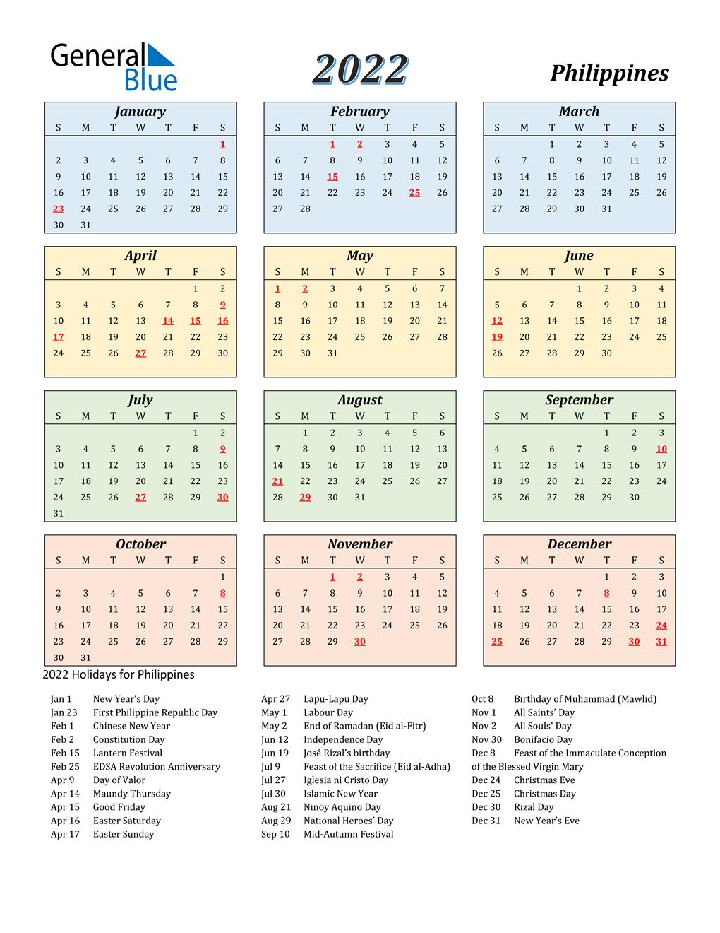 2022 Calendar With Holidays.2022 Philippines Calendar With Holidays