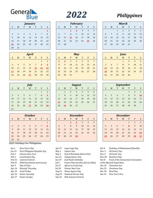 Philippines Calendar 2022